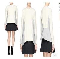 Fall 2014 Runway Top Quality  Wool Patchwork Wool Knitting  Slim Sweater for Women 141023LJ02