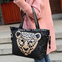 2015 new fashion handbags super atmospheric wind shiny piece leopard head shoulder diagonal handbags cute kawayi