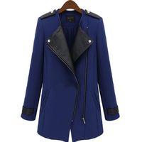 Autumn Winter Women Oversized Lapel Zip Slim Blazer Feminino Outwear Blaser Coat#64823