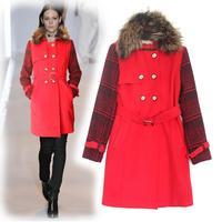 2014 New Brand Desigual Women Trench Coat Wool Long Windbreaker Plaid Patchwork Beige/Black/Red Free Shipping W1476