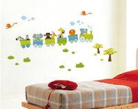 Safari Animals On Train Removable Nursery Baby Kids Wall Stickers Vinyl Decal