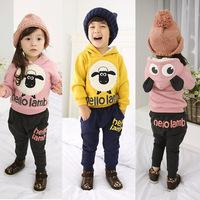 new 2014 autumn design 2-7 age boys girls cartoon long sleeve hooded coat +pants kids sports suit
