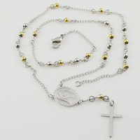 53cm 4mm Small Beads gold silver color stainless steel new necklace for men women with crucifix Y jewellery Free Shipping