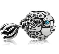 925 Sterling Silver Jewelry  Blue Treated Topaz Angel Fish Charm Bead for Jewelry DIY