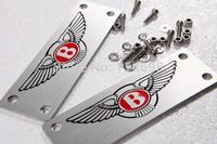 Car stying decoration accessories floor mat badge auto carpet Bentley emblem aluminum alloy Material logo for Bentley free shipp