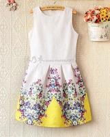 Plus Size M-XXL 2015 Fashion New Women Round neck sleeveless vest flower print dress bottoming Foral dress