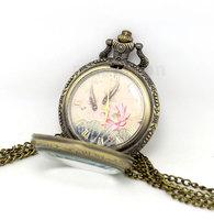 Vintage Lotus Fishes Roman Number Quartz Pocket Watch P433