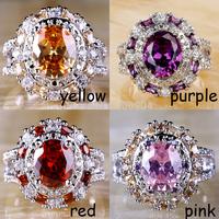Wholesale  Engagement Wedding Jewelry Oval Cut Morganite & Amethyst & Garnet & Pink Topaz 925 Silver Ring Size 7 8 9 10