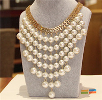 Promation exaggerated fashion sweater chain long tassels pearl collar bone necklace