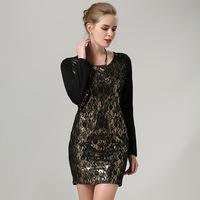 M-5XL 2014 Autumn Ladies Sexy Party Dress Plus Size Clothing XXXXL Long-sleeve Slim Casual Women Short Black Lace Dresses