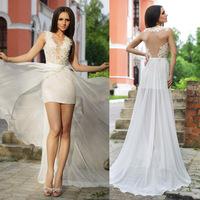 Sexy Lace Prom Dresses Deep V Neck Tank Backless Pageant 2015 Evening Dress Sheath with Chiffon Skirt Vestido de Gala E6166