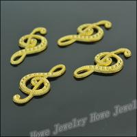80 pcs Charms Note Pendant  Gold color  Zinc Alloy Fit Bracelet Necklace DIY Metal Jewelry Findings JC567