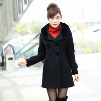 Free Shipping 2014 Winter New Woolen Coat  Women Long Double-Breasted Windbreaker Jacket Hooded Parka Women Black 2068
