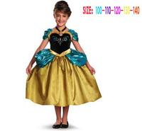 2014 New Summer Frozen Dress Embroidery Fashion Princess Girls Dresses Baby Girl Elsa Dress 5 pcs / lot 1323
