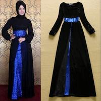 2014 Boutique European Fashion Women Long Sleeve Elegant Velour Long  Dress Side Slit Celebrity Formal Evening Dresses SS4555