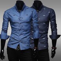 New Fashion Casual print long-sleeved men's shirts Men's cotton casual shirts Washed denim shirts