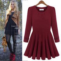 2014 new winter women's cotton long-sleeved pleated dress autumn dress fashion European stations women model dress clothes