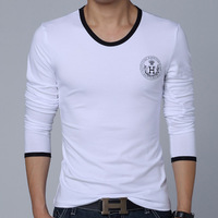2014 New Fashion Casual Slim FitnessT Shirt Elastic Long Sleeve t shirts Tops Tees,basic t shirt for men