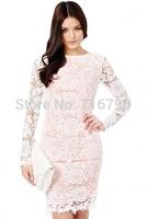 2014 Women White Evening Dress Open Back Lace Floral Pattern Midi Dress   Free Shipping