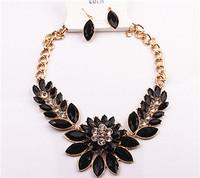"""Gem flower diamond temperament brief paragraph clavicle necklace """"single necklace"""""""