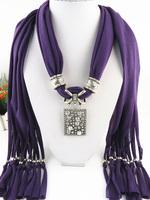 2014 Popular Jewelry Scarf New Zinc Alloy Pendant Scarf Women Winter Tassel Scarf Free Fast Shipping