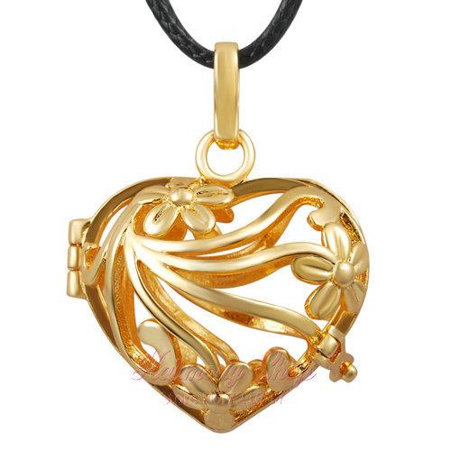 5pcs/lot 18K gold Women pendant Fit 18mm Chime ball Christmas Gift LOCKET jewelry Baby bola Jingle bell cage Free shipping(China (Mainland))