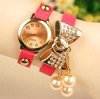 2015 Fashion Casual Cute Bowknot Bracelet Crystal Rhinestone Watches Women Dress Quartz Wristwatch relogio feminino Girl Gift