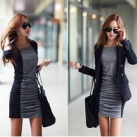 One-piece dress 2014 autumn and winter plus size sexy slim medium-long plus velvet thickening women's basic skirt