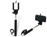 Free Shipping + Extendable Handheld Monopod for Cell Phones Selfie Monopod (Black)
