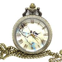 Antique Bronze Birds and Blue Flowers Quartz Pocket Watch Necklace Pendant  Men Women Gift P439