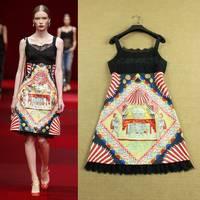 Fashion Vintage New 2015 Runway Women Summer Sexy Rustic Circus Print Lace Spaghetti Strap Knee Length Retro Dress Free Shipping