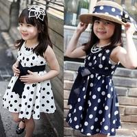 hot sale woven polka dot brief girl dress Free shipping (1pcs) retail 3~11age cotton shij kids apparel