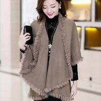 Elegant newest style fashion rabbit hair& wool knitted shawls ,women luxury swings 6 colors  FF038 8073