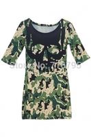 2014 Fashion Women Round Neckline 1/2 Sleeves Camo Skull Pattern Stretchy Dress  Free Shipping