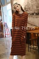 2014 Fashion Fall Dresses  Stripe Women Round Neckline Long Sleeves Long Dress Vestidos  Free Shipping