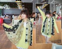 2014 New Fashion  Hot  Spring Autumn Scarf Chiffon Warm Winter Scarves Stars Pattern Shawl Gifts  Army Green