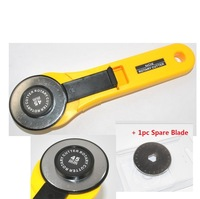 ABS Plastic Handle High-Speed Steel Blade Rotary Cutter Carpet Cutter Knife 45mm Cloth Slitter + 1pc Spare Blade