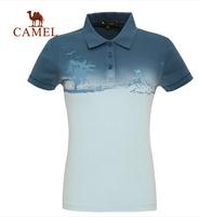Camel outdoor summer lapel short-sleeved  casual female models, female models short-sleeved t-shirt Genuine 3T11001