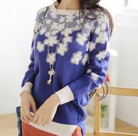 New arrival women acrylic&wool blue floral fashion sweaters  outwear FF24 1668