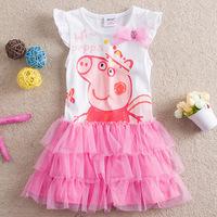 2014 girls dress Peppa pig / Pepe Pig Kids Bubble short-sleeved summer girls princess cake dress H4476