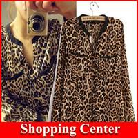 Wholesale 2014 New Fashion Women Wild Leopard Print Chiffon Blouse Lady Sexy Long Sleeve Top Shirt Leopard Blouse dropshipping