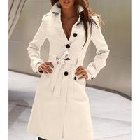 Multi-Color Back Slit Europe Woolen Shaped Slim Women Wool Winter Coat Outwear Overcoat#64830