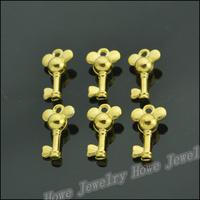 100 pcs Charms Key Pendant  Gold color  Zinc Alloy Fit Bracelet Necklace DIY Metal Jewelry Findings JC566