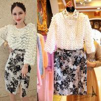 Free shipping 2014 autumn new women clothing set,skirt suit,women elegant 3D puff sleeves blouse and print knee-length skirt