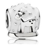 2014 Christmas Bead European Bracelet Silver 925 White Enamel Snow globe Design With Reindeer Charm Bead for Women Jewelry