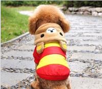 Dog Clothes Thicked Warm Stripe Happy Bear 2 Leg Clothes Pet Dog Clothes  Dog Clothing  Free Shipping  1PCS/LOT