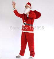 Christmas Santa Claus clothes complete set clothes + pants + hat + beard + belt Adult Clothing Costume Hot Sale