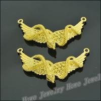 12 pcs Charms Wings Pendant  Gold color  Zinc Alloy Fit Bracelet Necklace DIY Metal Jewelry Findings JC577