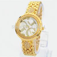 2014 women dress watches with diamond luxury brand  Lady Qaurtz watch steel bracelet female watch free shipping+box