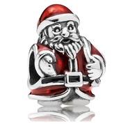 Fashion Christmas Gift  925 Sterling Silver Red Enamel Santa Claus Charm Bead